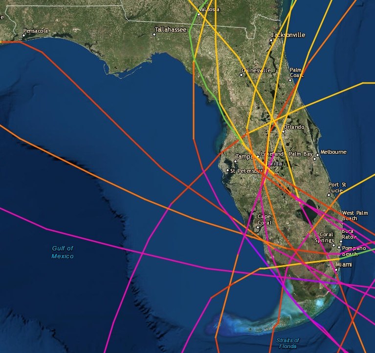 Florida Hurricane Paths History Map Florida: Hurricane magfor a century